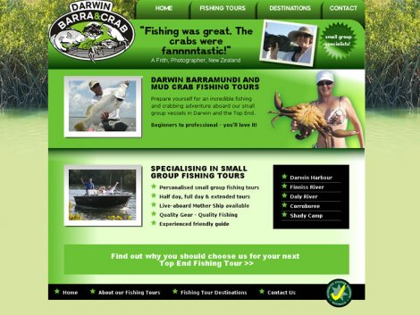 Darwin Barra and Crabs website - a recipe to success